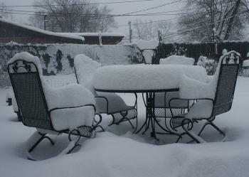 Schnee Gartenmöbel